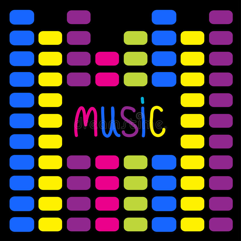 Colorful digital equalizer and word  Music. Card.