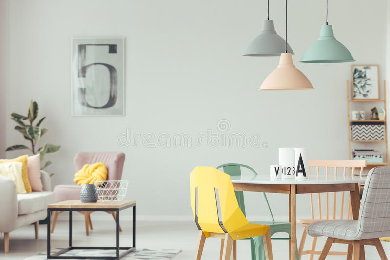 Colorful dining room interior royalty free stock photo
