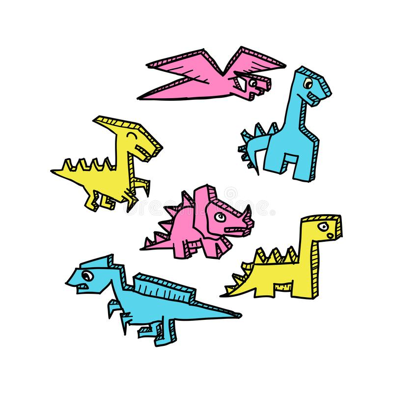 Colorful Dino drawing 3d style set vector illustration. stock illustration