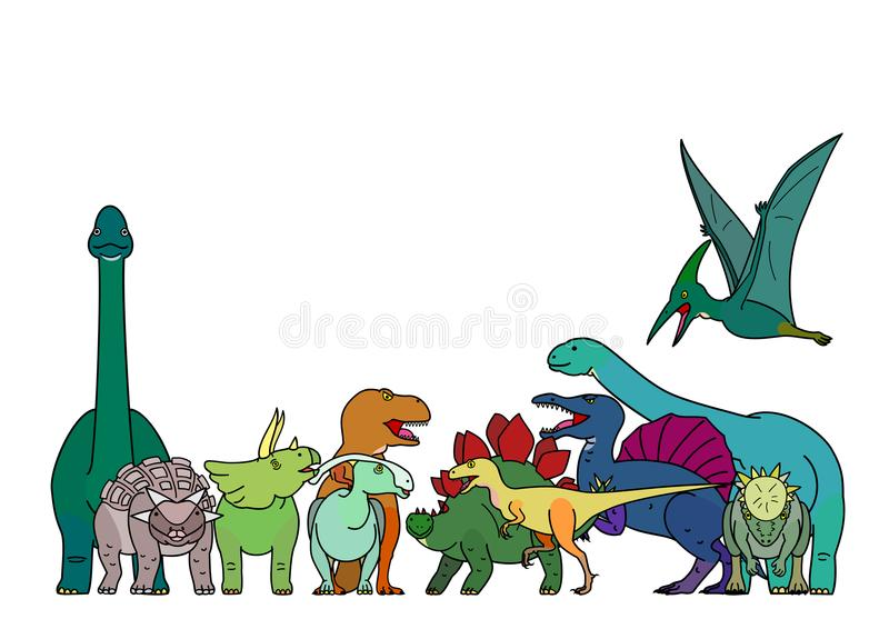 Colorful dinosaur group. Group of various colorful dinosaurs stock illustration