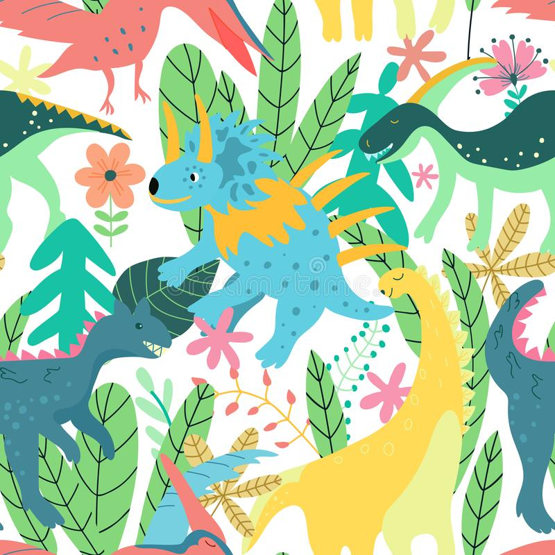 Colorful dinosaurs forest seamless pattern jungle in retro style. Colorful floral wallpaper vector. Wild nature. Summer. Print. Botanical baby funny vector illustration