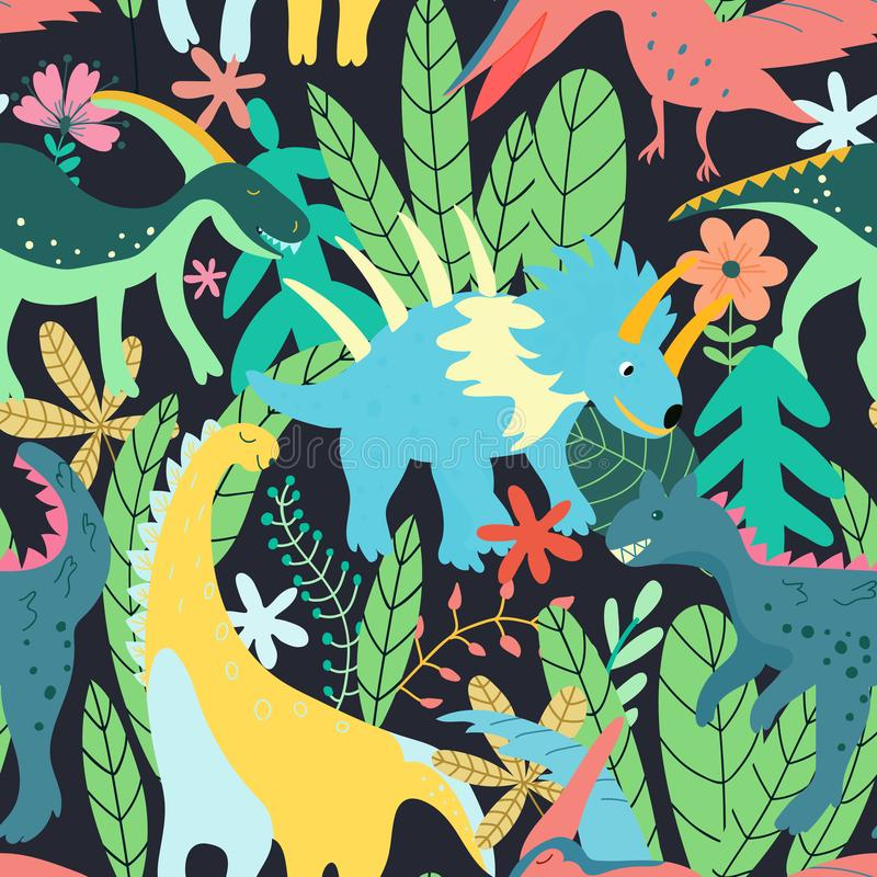 Colorful dinosaurs forest seamless pattern jungle in retro style. Colorful floral wallpaper vector. Wild nature. Summer print. Botanical baby funny stock illustration