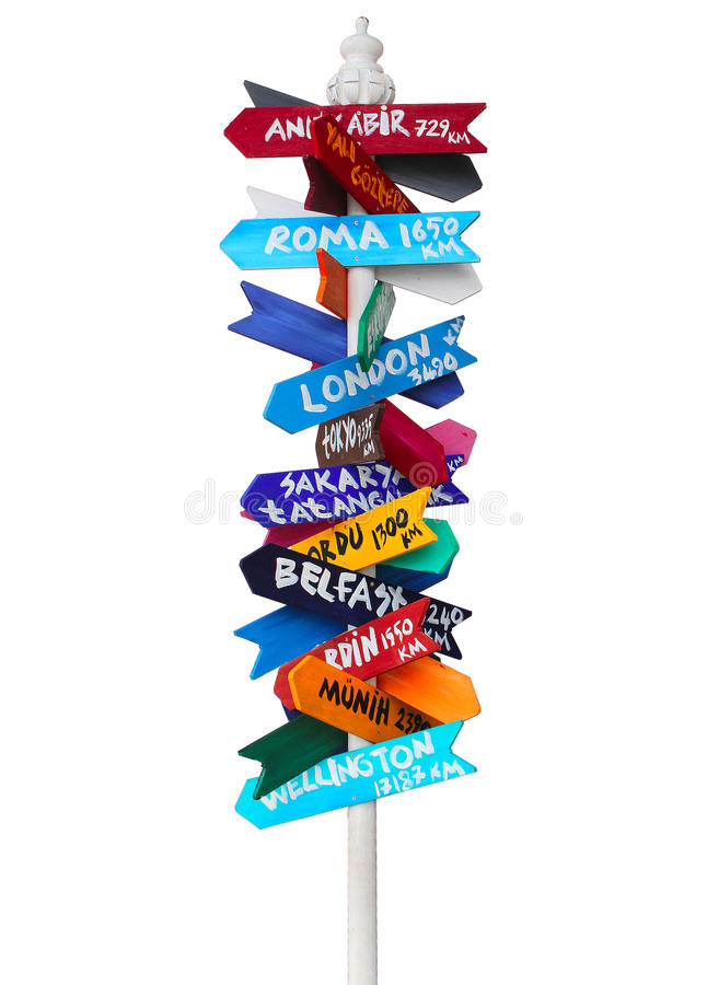 Colorful Direction Sign Isolated stock photos