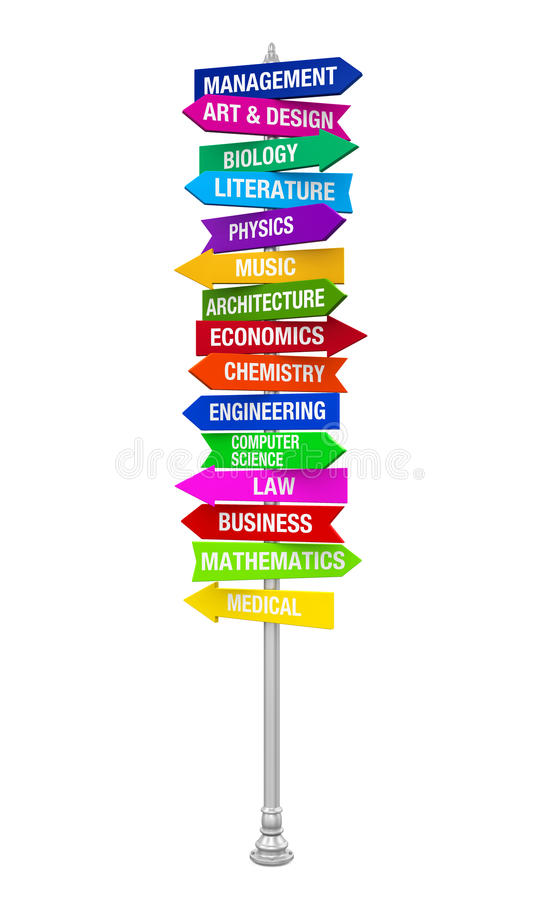 Colorful Direction Sign of Majors royalty free illustration