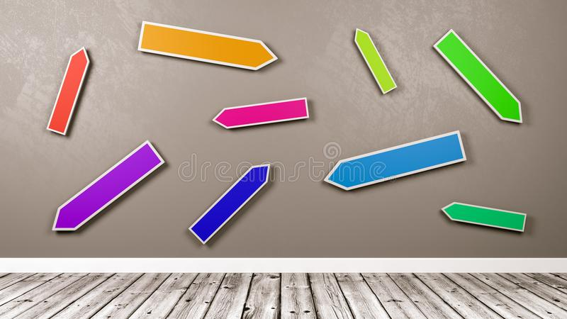 Colorful Directional Arrows Road Sign Against Gray Wall royalty free illustration