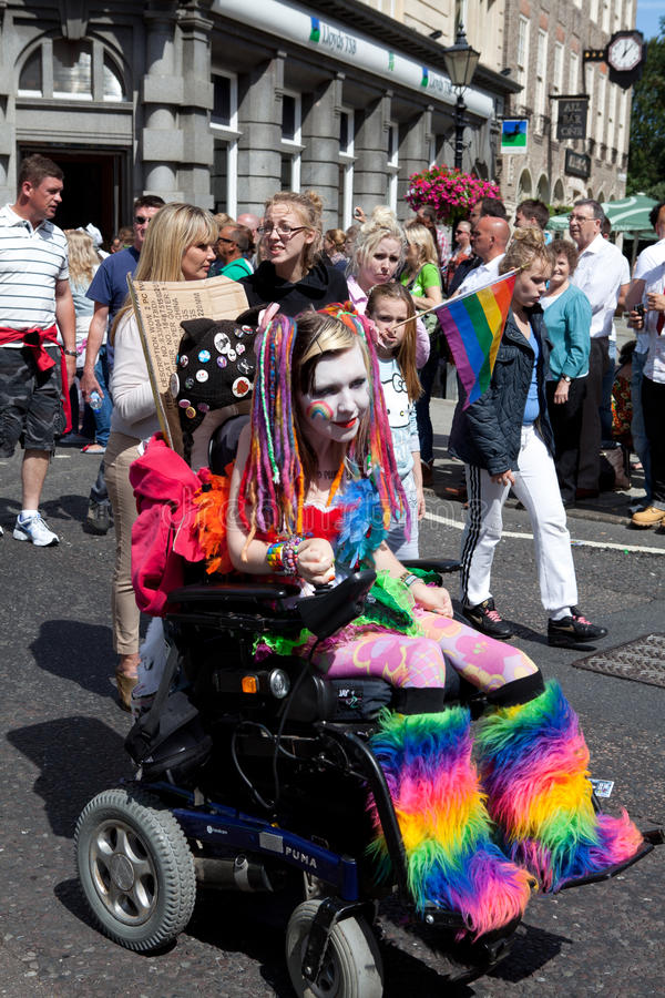 Colorful Disabled Girl in Brighton Gay Pride 2011 stock images