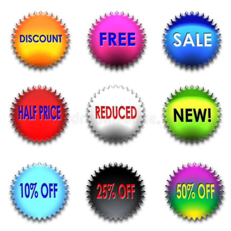 Download Colorful discount set stock illustration. Image of color - 16434554
