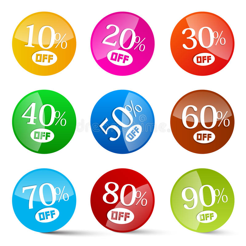 Colorful Discount Vector Circles Set stock illustration