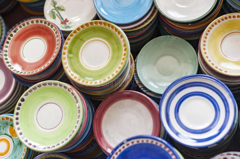 Colorful dishes stock photos