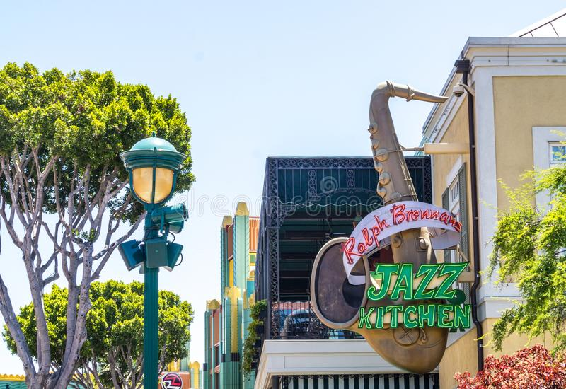 Colorful Disneyland architecture in Anaheim, Los Angeles, California, USA stock photo