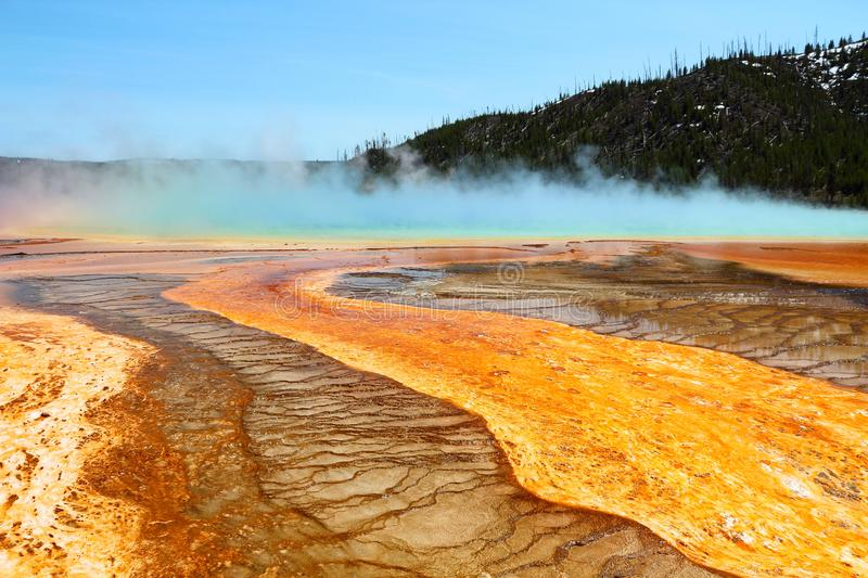 Steam Rising from Grand Prismatic Spring, Yellowstone National Park, Wyoming stock photo
