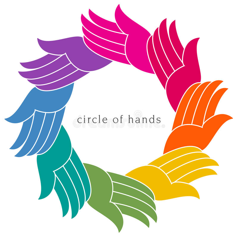 A colorful diverse circle of hands stock illustration