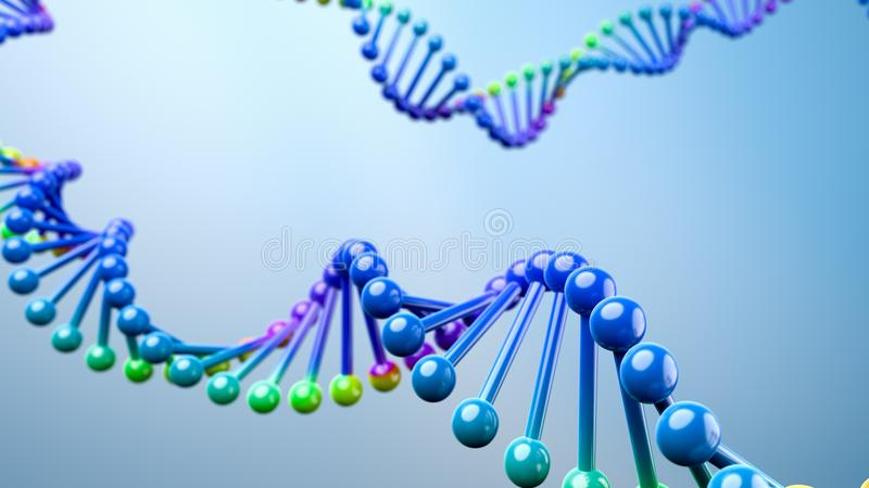 DNA Chain on Blue Background. Colorful DNA Chain on Blue Background 3D Illustration royalty free illustration