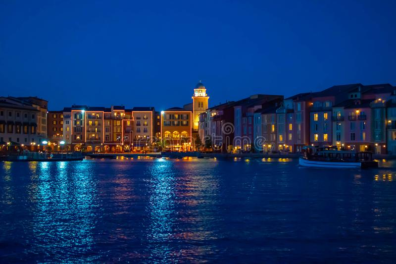 Colorful dockside buildings on blue night background in Portofino Hotel at Universal Studios area 1. Orlando, Florida. May 21, 2019. Colorful dockside buildings royalty free stock photo
