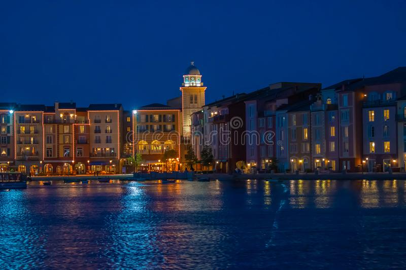 Colorful dockside buildings on blue night background in Portofino Hotel at Universal Studios area 3. Orlando, Florida. May 21, 2019. Colorful dockside buildings royalty free stock photo