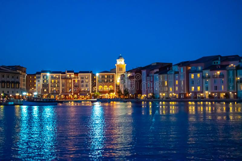 Colorful dockside buildings on blue night background in Portofino Hotel at Universal Studios area 5. Orlando, Florida. May 21, 2019. Colorful dockside buildings royalty free stock photo