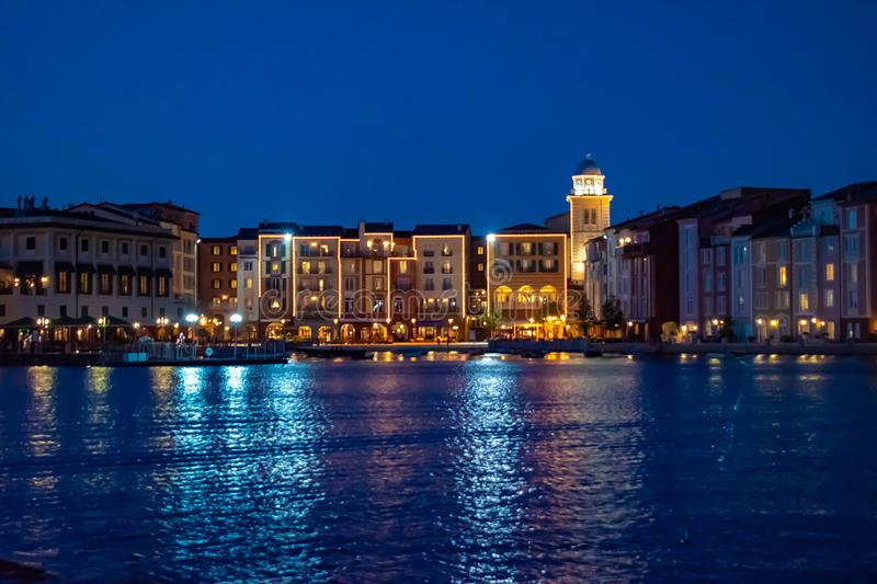 Colorful dockside buildings on blue night background in Portofino Hotel at Universal Studios area 5. Orlando, Florida. May 21, 2019. Colorful dockside buildings royalty free stock photos