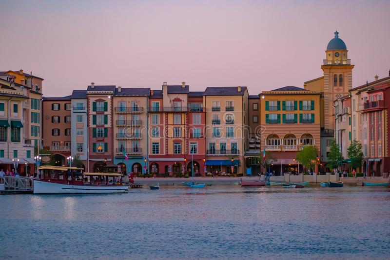 Colorful dockside buildings on sunset background in Portofino Hotel at Universal Studios area 5. Orlando, Florida. May 21, 2019. Colorful dockside buildings on stock photos