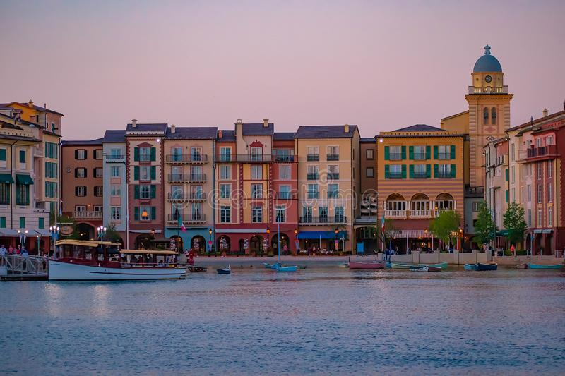 Colorful dockside buildings on sunset background in Portofino Hotel at Universal Studios area 5. Orlando, Florida. May 21, 2019. Colorful dockside buildings on royalty free stock photo