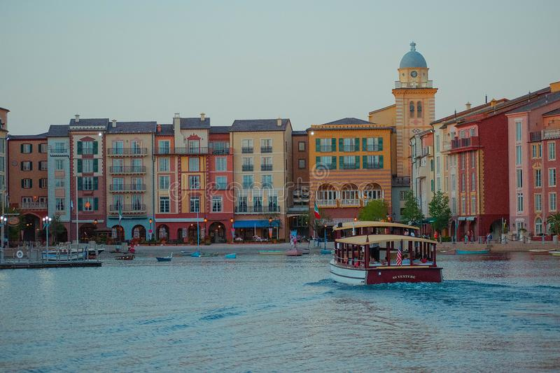 Colorful dockside buildings on sunset background in Portofino Hotel at Universal Studios area 5. Orlando, Florida. May 21, 2019. Colorful dockside buildings on royalty free stock image