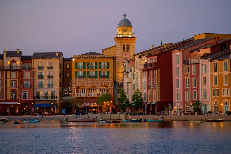 Colorful dockside buildings on sunset background in Portofino Hotel at Universal Studios area 7. Orlando, Florida. May 21, 2019. Colorful dockside buildings on royalty free stock photography