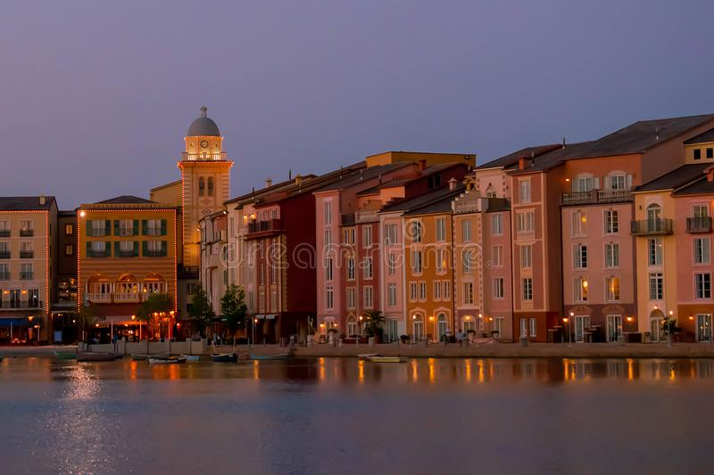 Colorful dockside buildings on sunset background in Portofino Hotel at Universal Studios area 1. Orlando, Florida. May 21, 2019. Colorful dockside buildings on stock photos
