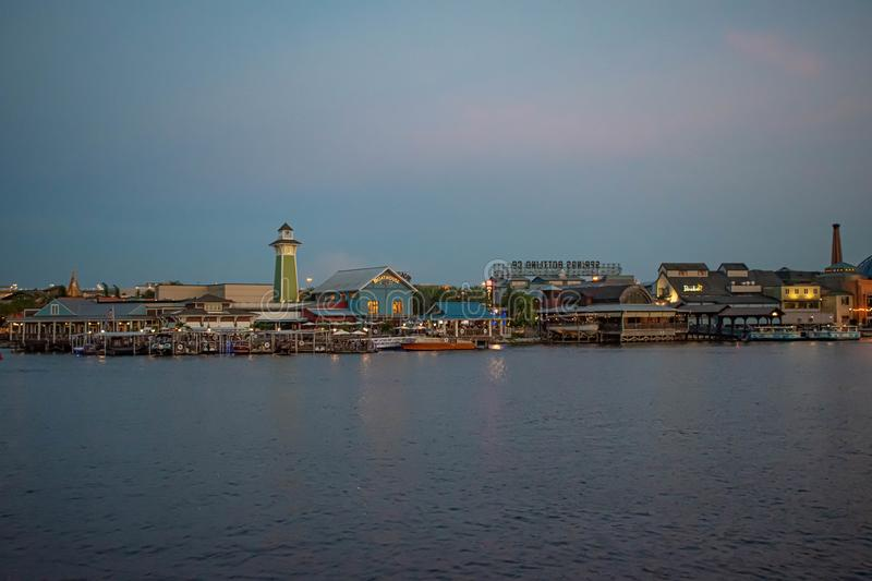 Colorful dockside  on sunset background at Lake Buena Vista. Orlando, Florida. June 15, 2019. Colorful dockside  on sunset background at Lake Buena Vista royalty free stock photography