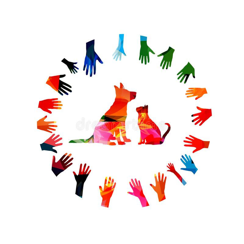 Free Colorful Dog And Cat With Hands Isolated Vector Illustration. Design For Vet Clinic, Animal Shelter, Animal Rescue, Pet Shop Stock Images - 186721584