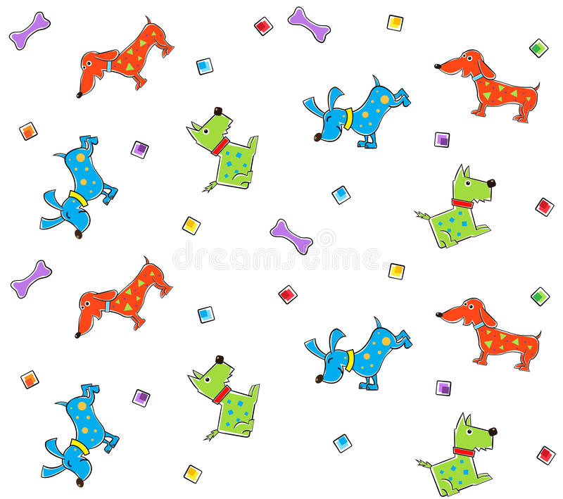 Download Colorful Dogs Pattern stock vector. Image of pattern - 39598595