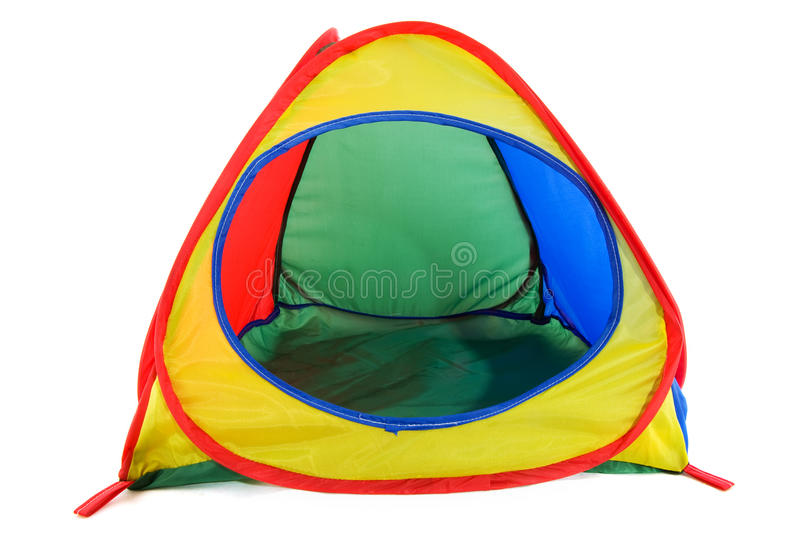 Colorful dome tent. With nobody isolated over white royalty free stock images