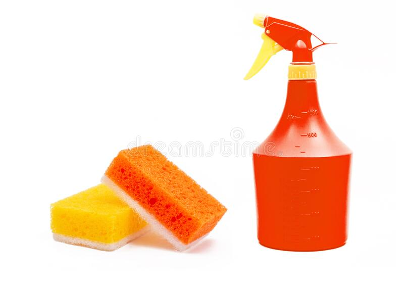 Colorful domestic objects for cleaning stock images