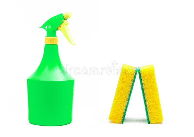 Colorful domestic objects for cleaning royalty free stock images