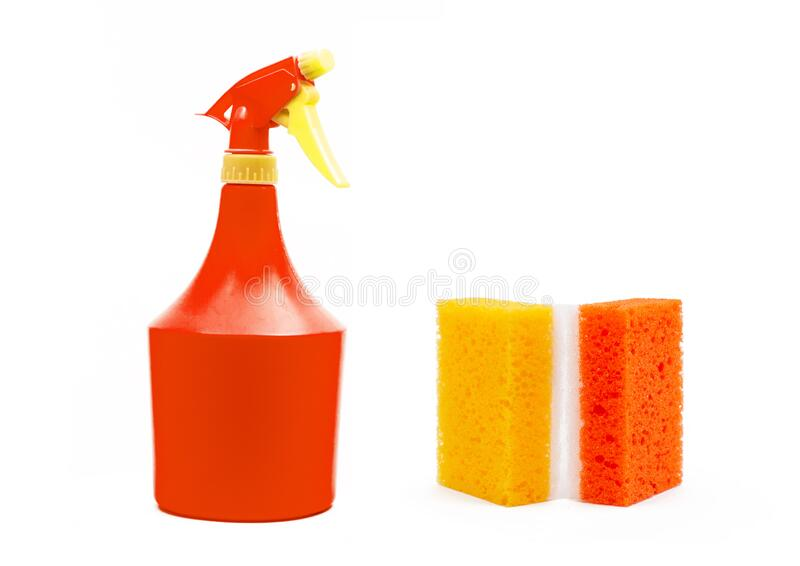 Colorful domestic objects for cleaning stock photos