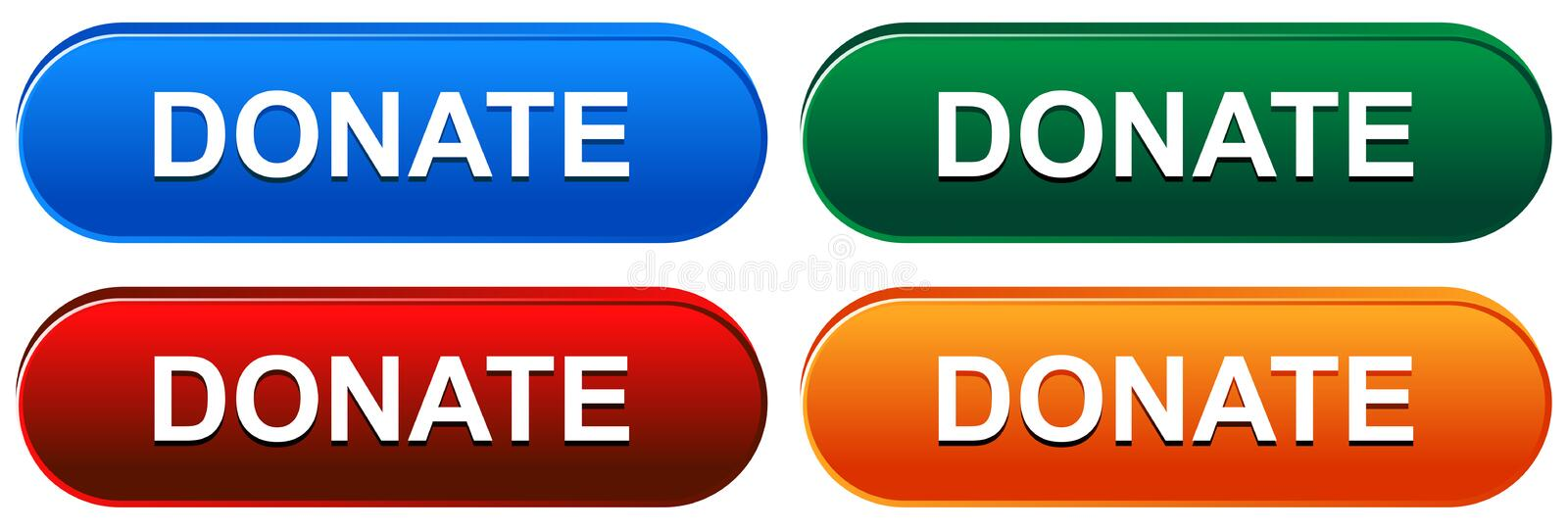 Donate web button on white. Colorful donate web buttons on white background - vector illustration stock illustration