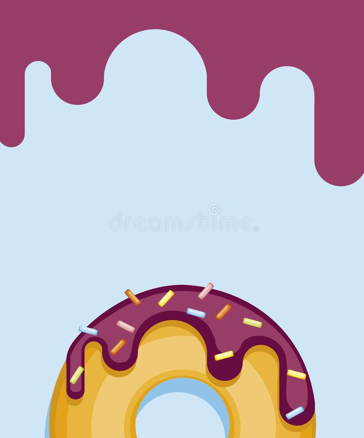 Colorful donuts isolated on blue pastel background. Top View Donut in white glaze. For postcards, menu design, cafe decoration, delivery box, poster. bright stock illustration