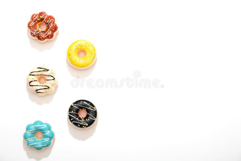 Colorful donuts isolated stock photo