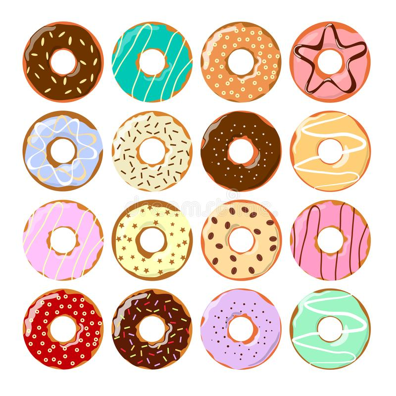 Colorful donuts set. Tasty glazed pastry with decoration stock illustration