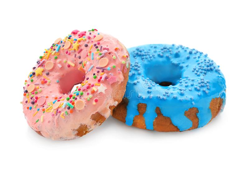 Colorful donuts with sprinkles royalty free stock photography