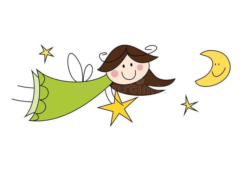 Download Cute little angel girl stock vector. Image of angel, guardian - 30090133
