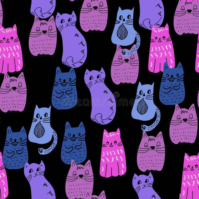 Colorful doodle style cats seamless pattern. Vector vector illustration