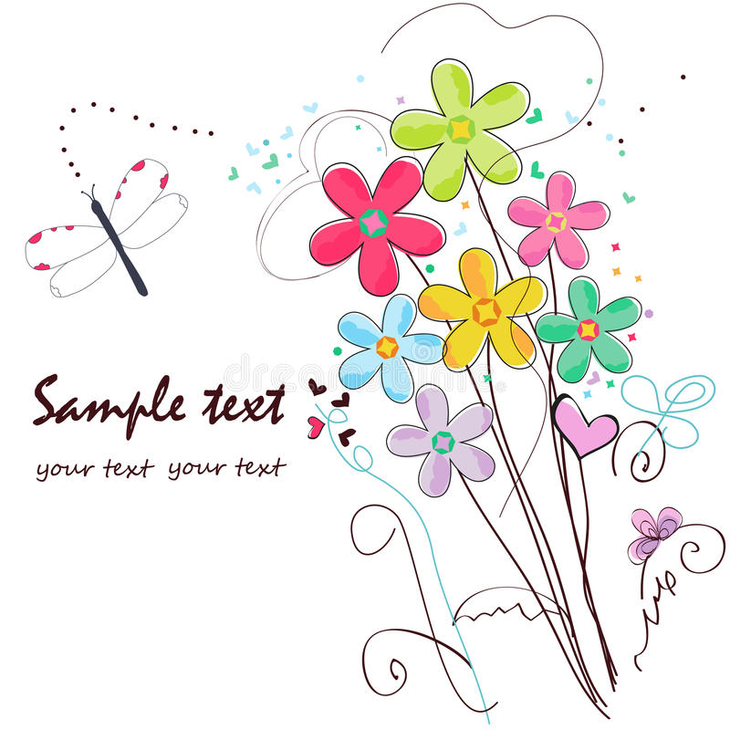 Colorful doodle flowers border greeting card royalty free illustration