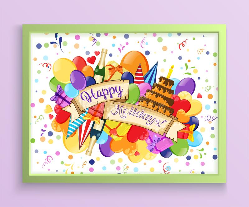 Colorful doodle hand drawn holiday poster template. Colorful vector artwork. Corporate identity design. Pattern with lots of stock photography