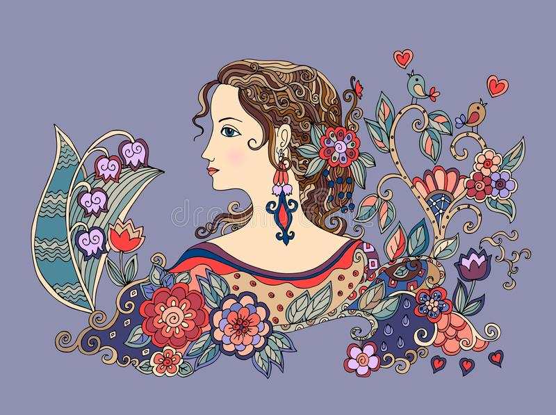 Colorful doodle portrait of beautiful girl in profile with flowers vector illustration