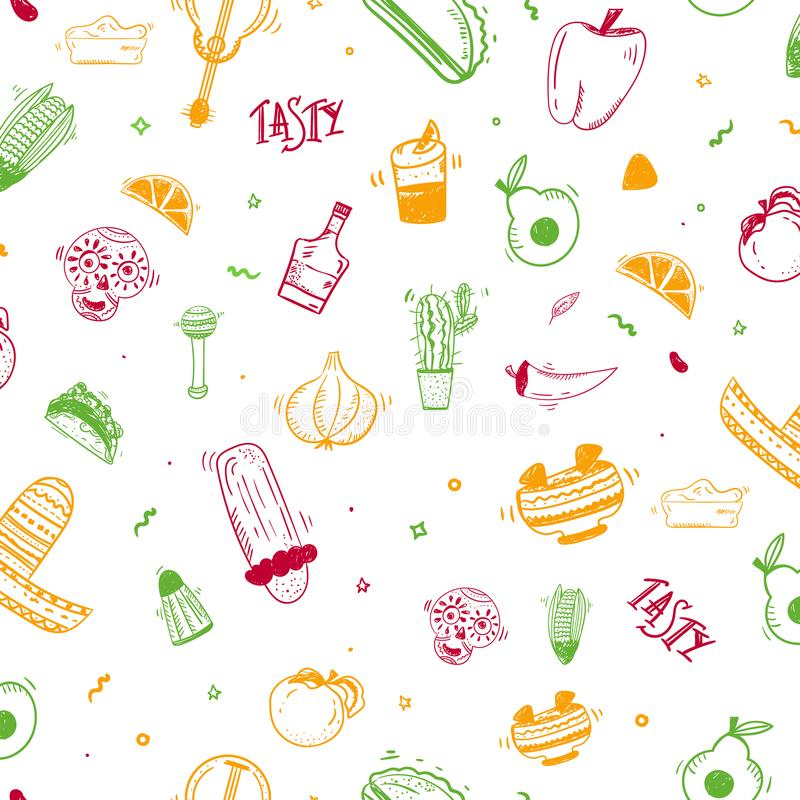 Colorful doodle sketch Mexican seamless pattern design with taco, chiliburrito vector illustration