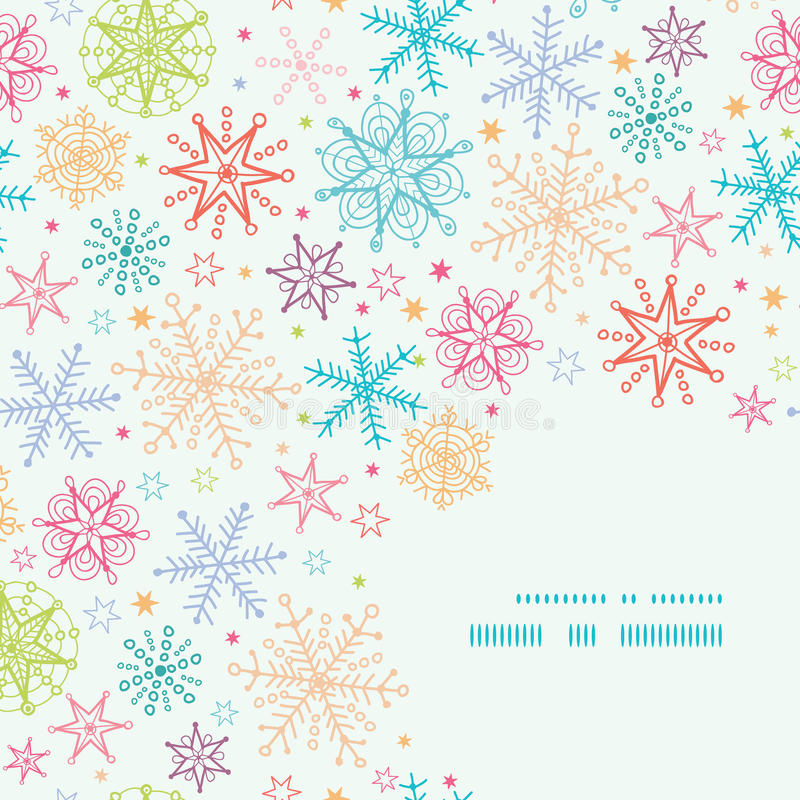 Colorful Doodle Snowflakes Corner Frame Seamless vector illustration