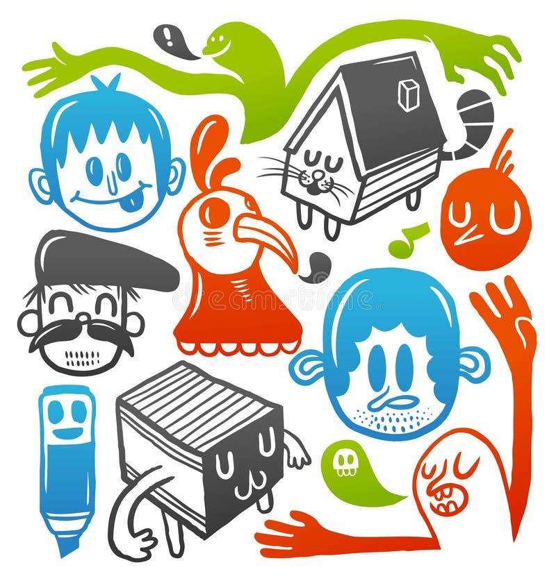 Download Colorful doodles set stock vector. Image of design, drawn - 12148219
