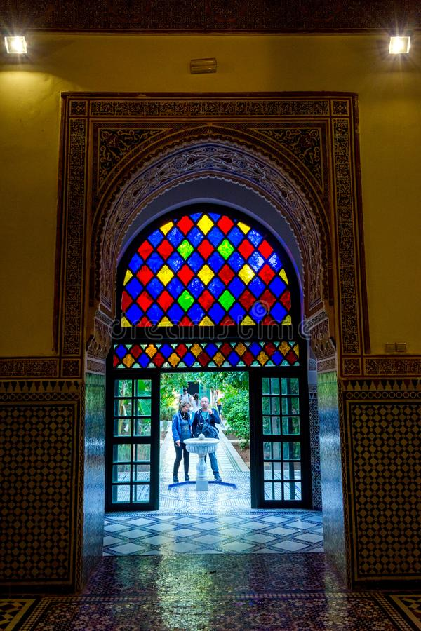 Colorful door at Bahia palace, Marrakech royalty free stock images