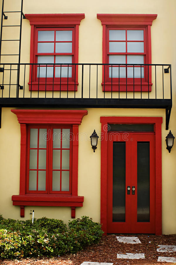 Colorful door with windows stock images