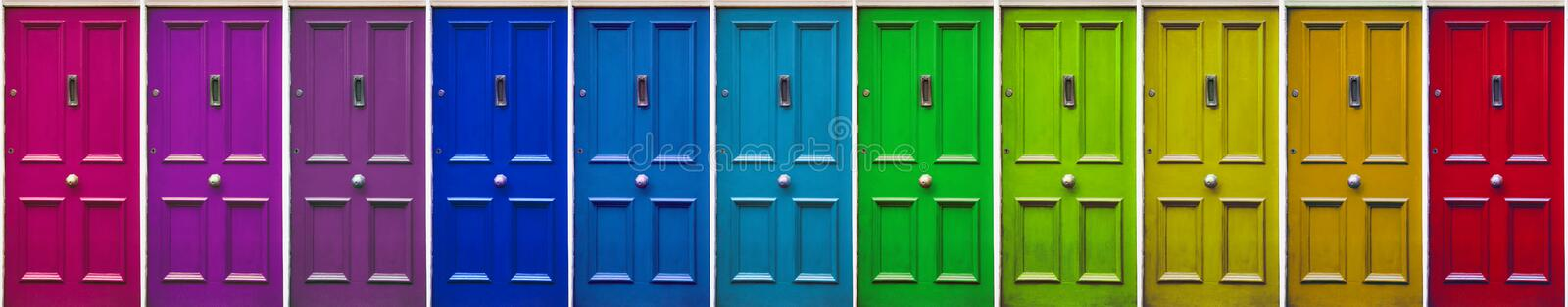Colorful doors. Color patterns. Beautiful stylish, old door.  Allegory of getting out of a difficult situation royalty free stock image