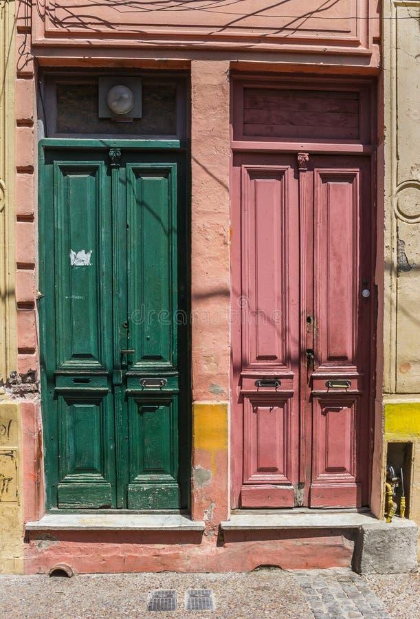 Colorful doors of La Boca. Colorful doors in La Boca, Buenos Aires royalty free stock photo